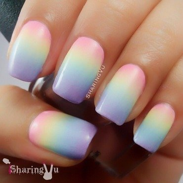 💞💛💙💜 Pastel Gradient💜💙💛💕 nail art by SharingVu
