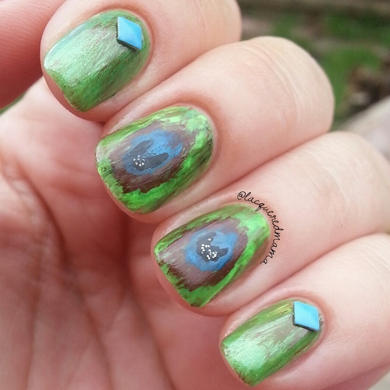Ikat Peacock feather nail art by Jennifer Collins