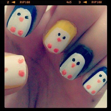 Penguin madness ! nail art by JingTing Jaslynn