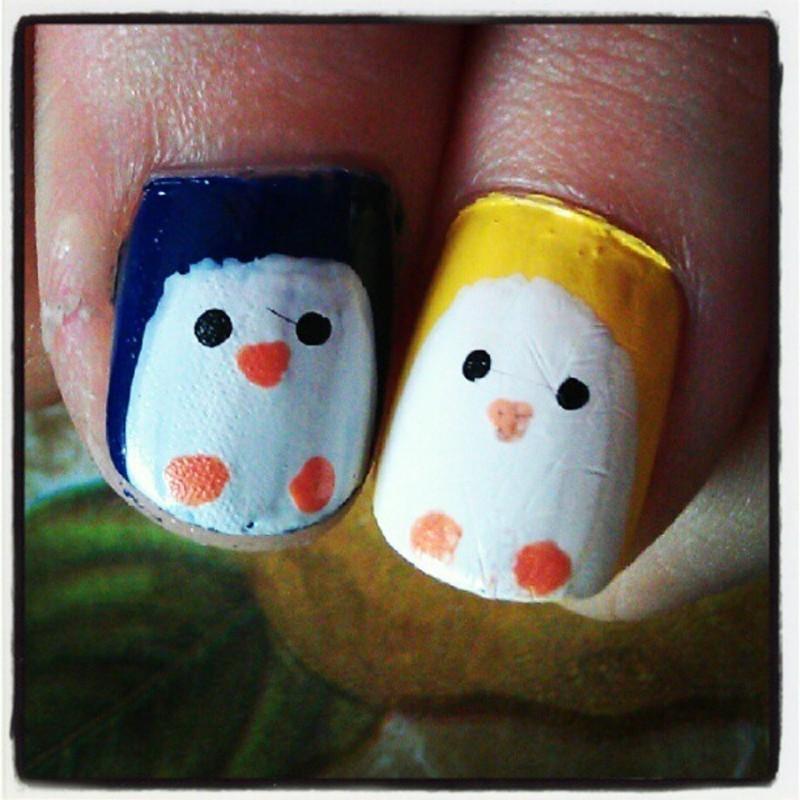 Fat penguins are loved nail art by JingTing Jaslynn