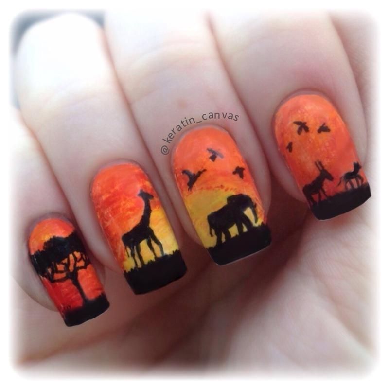 African Safari nail art by Amanda
