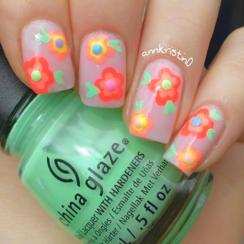 Neon Flowers nail art by Ann-Kristin