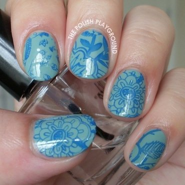 Blue floral stamping nail art thumb370f