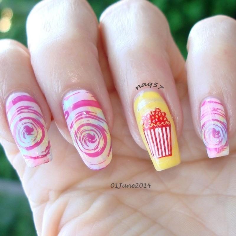 Spun Sugar Popcorn Nail Art By Nora Naq57 Nailpolis Museum Of