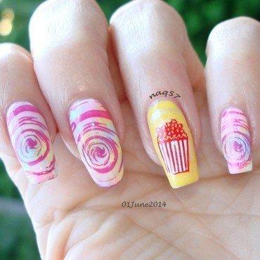 Spun Sugar & Popcorn nail art by Nora (naq57)