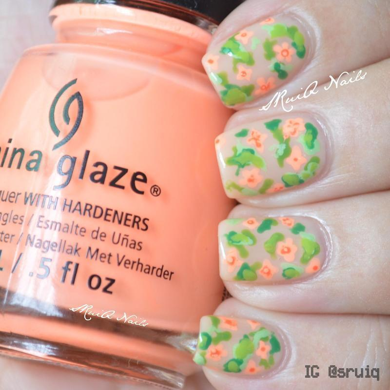 Girly Flowers nail art by Sarah