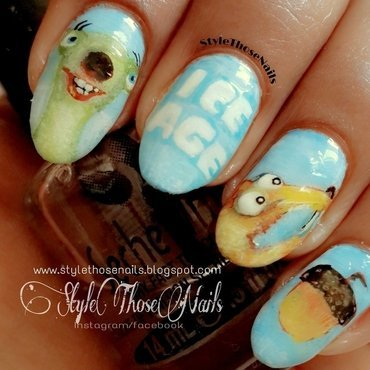 Ice Age Movie Inspired Nails  nail art by Anita Style Those Nails