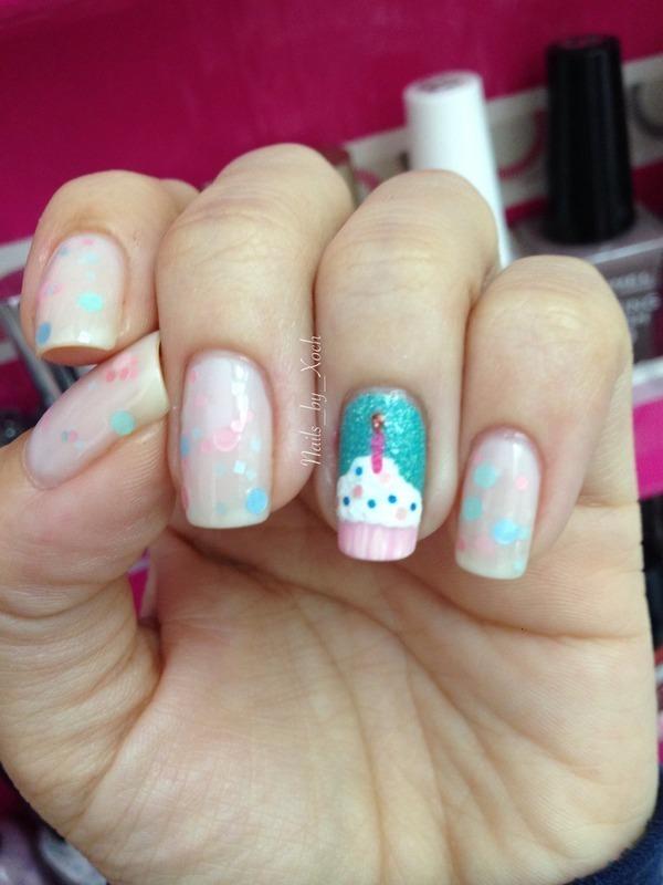 Birthday nails nail art by Xochilt