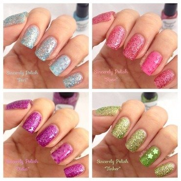 Sincerely Polish Tinker, Sincerely Polish Rose, Sincerely Polish Peri, and Sincerely Polish Vidia Swatch by Xochilt