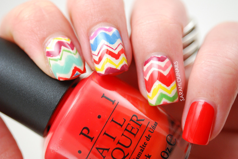 Freehand Chevron Accent Nails!  nail art by Sarah S