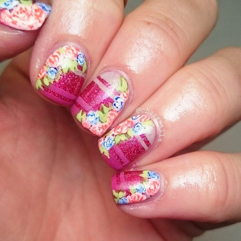 floral nail art by Charlotte