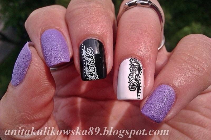Black & White with Milka nail art by Anita