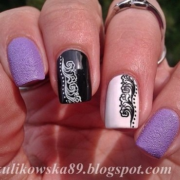 Black & White with Milka nail art by Anita