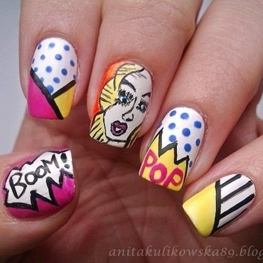 POP ART with Rita Ora nail art by Anita