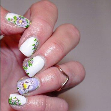 pansies  nail art by Charlotte
