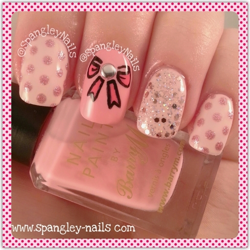 Pink Bow Nail Art nail art by Nicole Louise