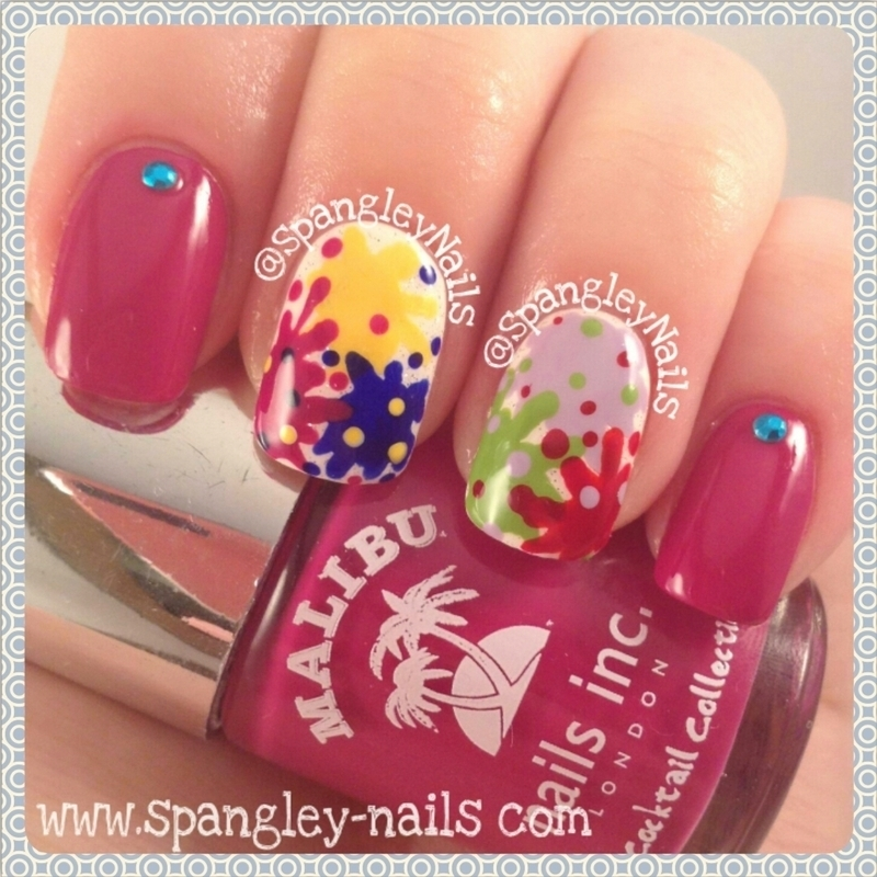 Paint Splatter Nail Art nail art by Nicole Louise