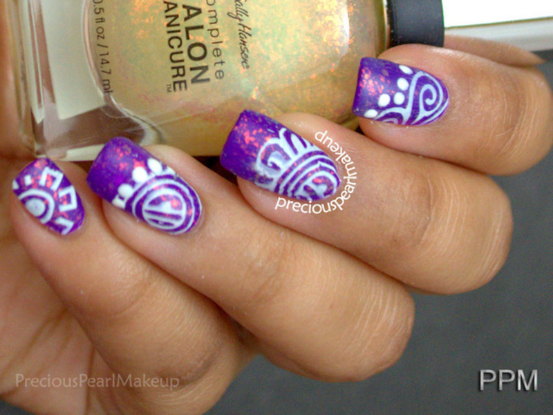 Purple and Gold nail art by Pearl P.