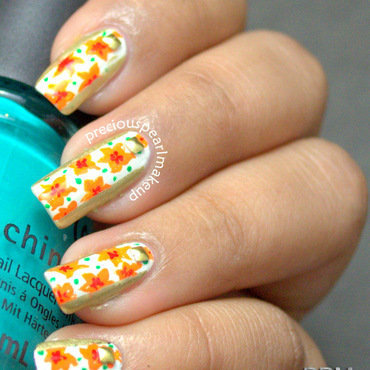 Orange flowers nail art 4 thumb370f