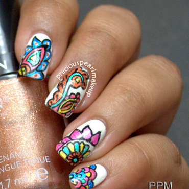 Henna Inspired Nails nail art by Pearl P.