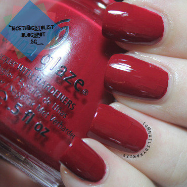China Glaze Adventure Red-y Swatch by Karise Tan