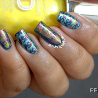 Wavy Metallic nail art by Pearl P.