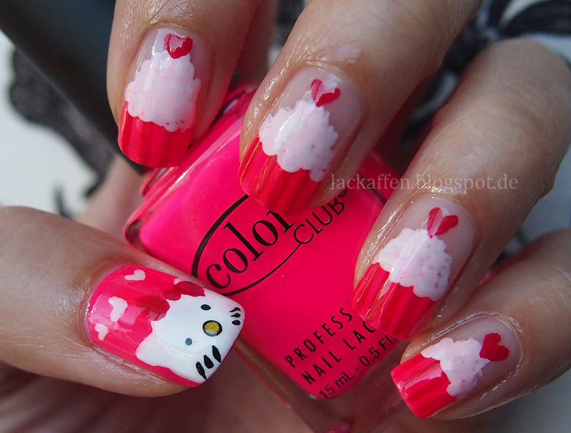 Hello Kitty Cupcakes nail art by Tartelette