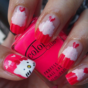 Hello Kitty Cupcakes nail art by Tartelette