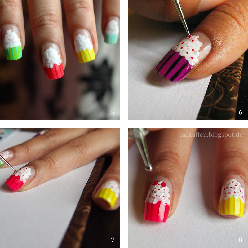 Little Cupcake tutorial nail art by Tartelette