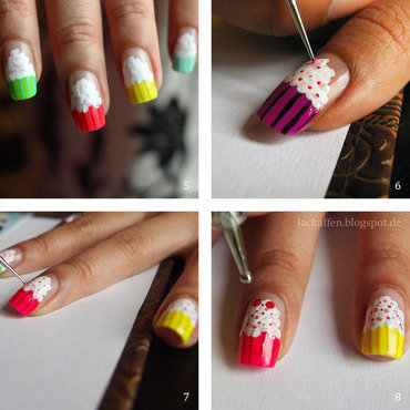 Little Cupcake tutorial nail art by Tartelette