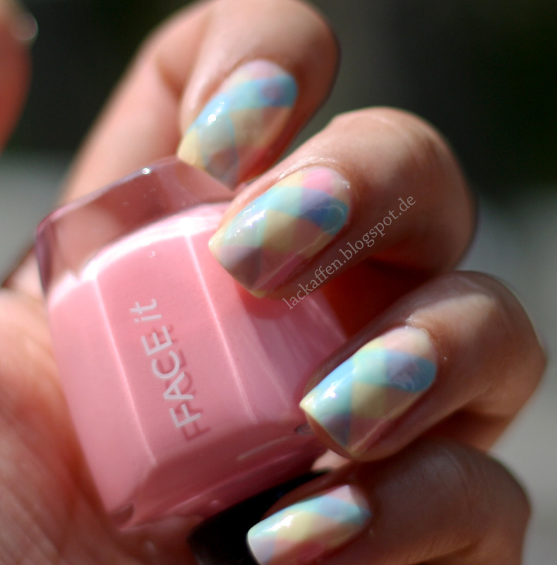 Chequered pastell nails nail art by Tartelette
