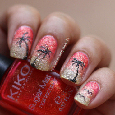 Sunset at the beach nail art by Tartelette