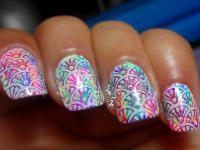 Gradient stamping nail art by Nicky