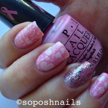 Pink Valentine's nail art by Debbie