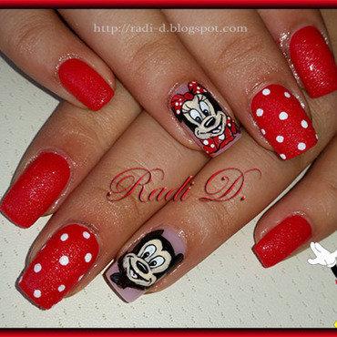 Mickey & Minnie nail art by Radi Dimitrova