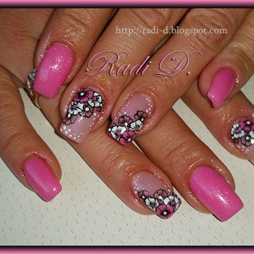 Pink gel polish with flowers nail art by Radi Dimitrova