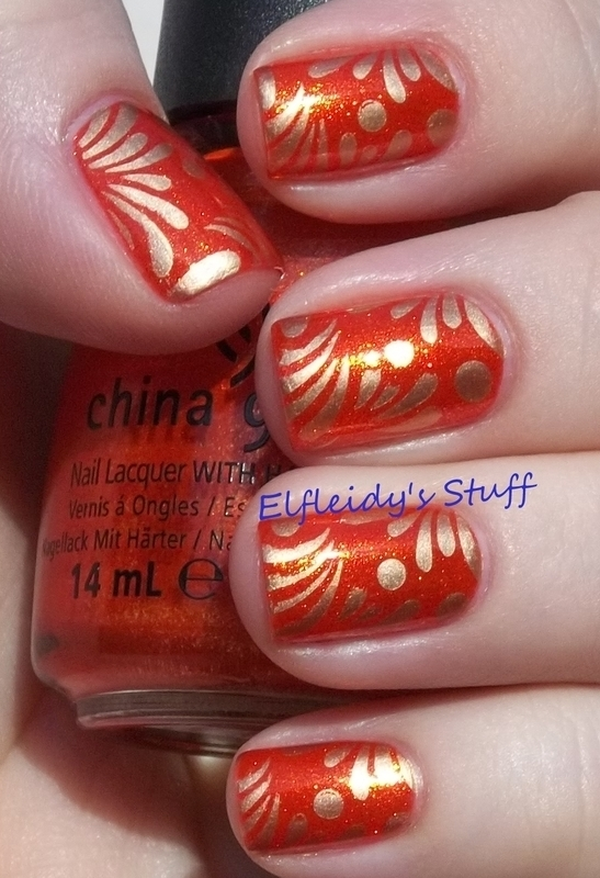 Orange and gold stamping nail art by Jenette Maitland-Tomblin