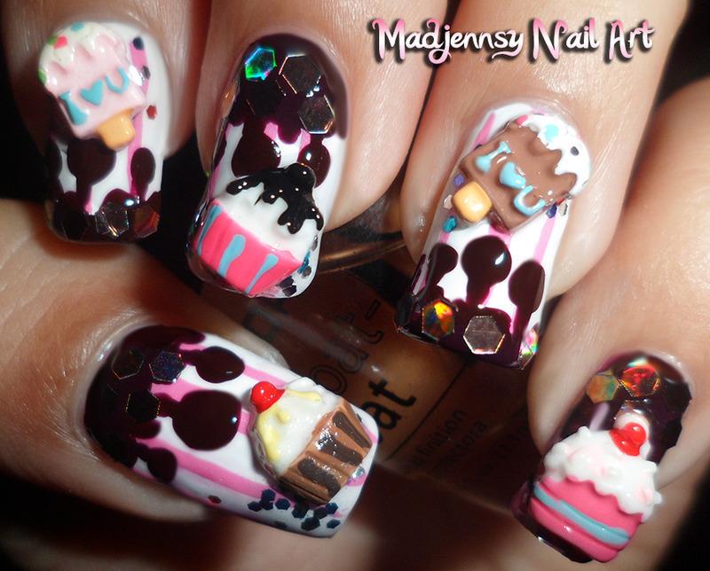 Cupcake Ice-Cream Melted Chocolate 3D Nail Art nail art by madjennsy Nail Art