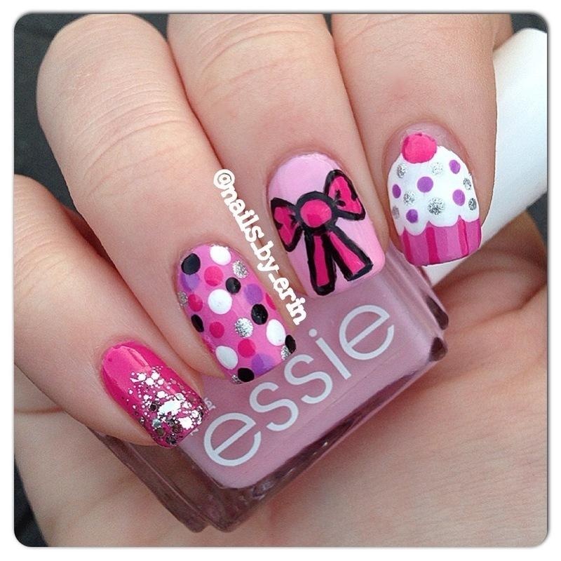 Girly Pink Nails nail art by Erin