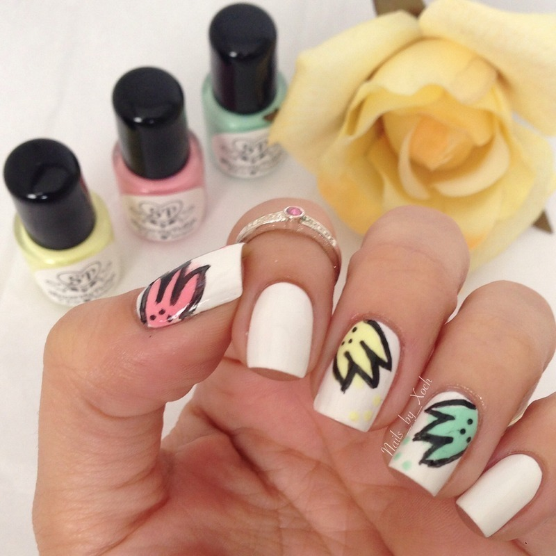 Spring love nail art by Xochilt
