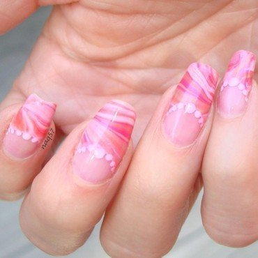 Watermarble French Tips nail art by Nora (naq57)