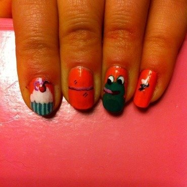 Cupcakes and cheeky frog nail art by Charlotte Speller