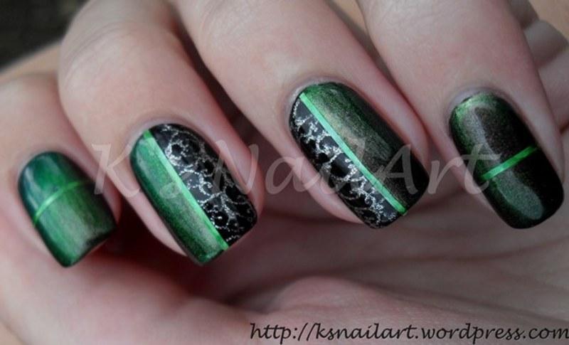 "Emerald Tape Manicure nail art by Kairi E ""K's NailArt"""