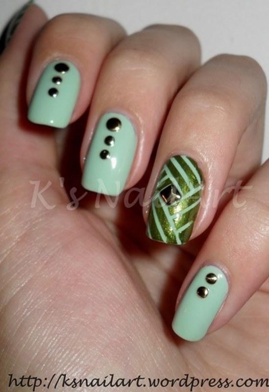 "Green Tape Manicure nail art by Kairi E ""K's NailArt"""