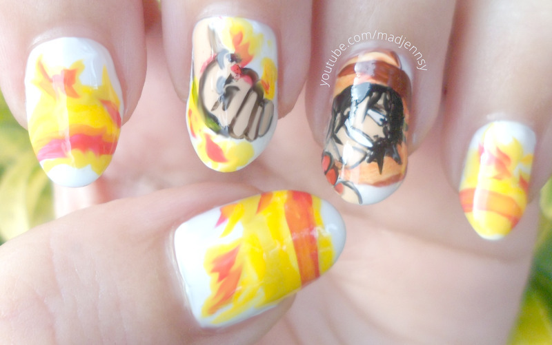 One Piece Portgas D. Ace Nail Art nail art by madjennsy Nail Art