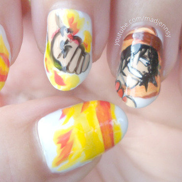 One Piece Portgas D. Ace Nail Art nail art by madjennsy Nail Art