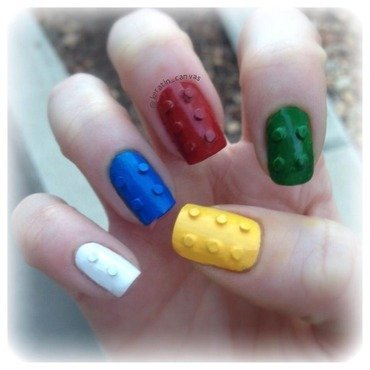 3-D Legos nail art by Amanda