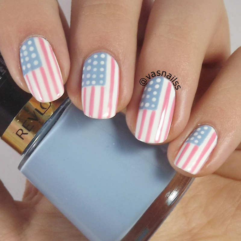 Pink Usa Flag Nail Art By Vanesa Nailpolis Museum Of Nail Art