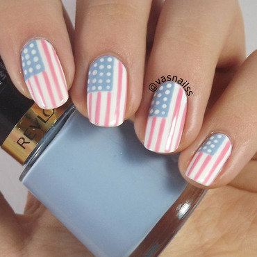 Pink USA Flag nail art by  Vanesa