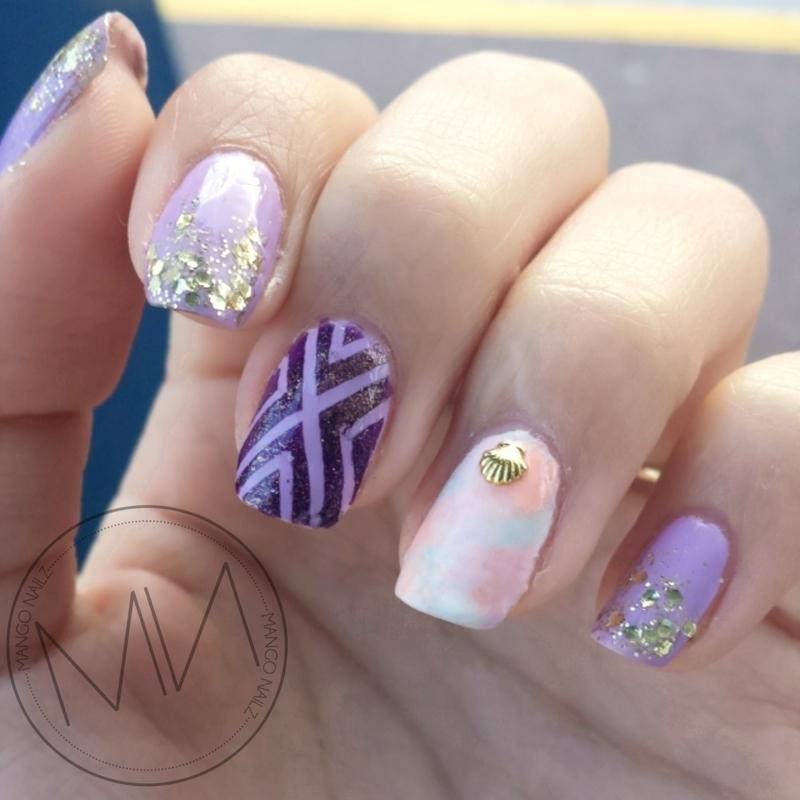 Lilac everywhere  nail art by Mango Nailz